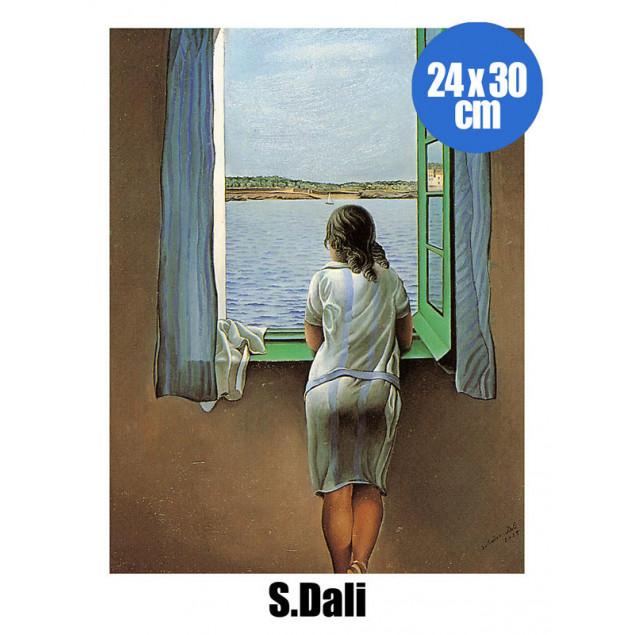 Affiche Jeune Fille à la Fenêtre, S. DALI 24x30 cm