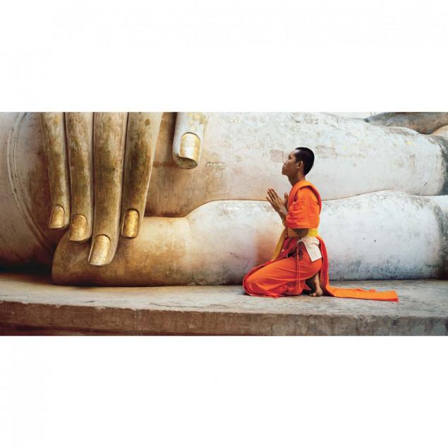 Moine de Sukhothaï et Bouddha géant, Thaïlande