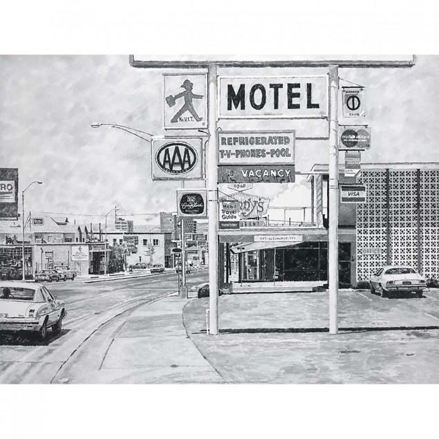Affiche noir et blanc Vacancy, Pierre Budestschu -