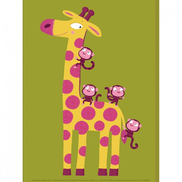 Affiche La girafe et les singes - N. CHOUX, 30x40c