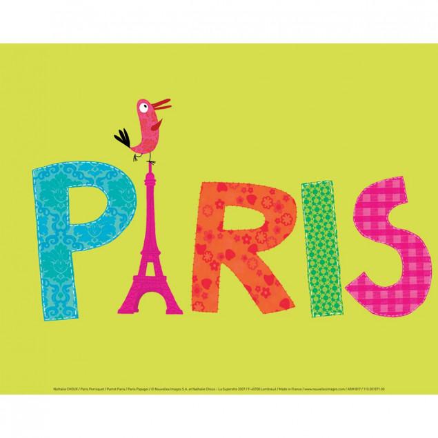 Paris Parrot poster - N. CHOUX, 30 x 40 cm
