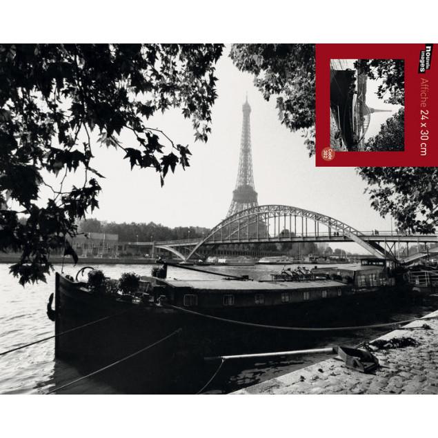 Bank of the Seine poster, B. de HOGUES 24x30 cm