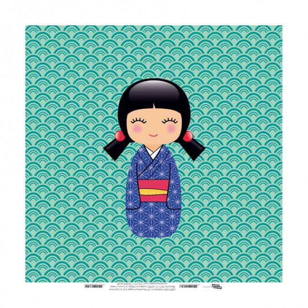 Kokeshi 4, Ladyleia printed canvas - 30 x 30 cm