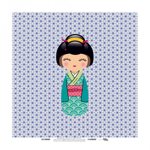 Kokeshi 5, Ladyleia printed canvas - 30 x 30 cm