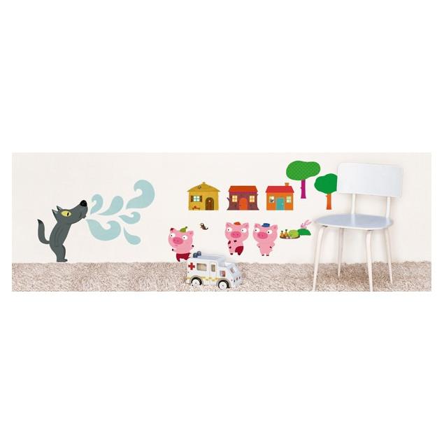 Sticker mural pour enfants Les trois petits cochon