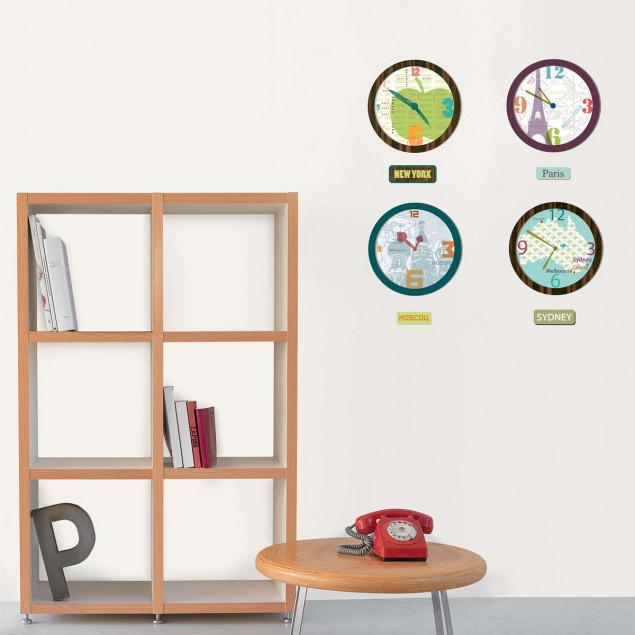 Clocks wall stickers Sydney, Moscow, Paris, New Yo