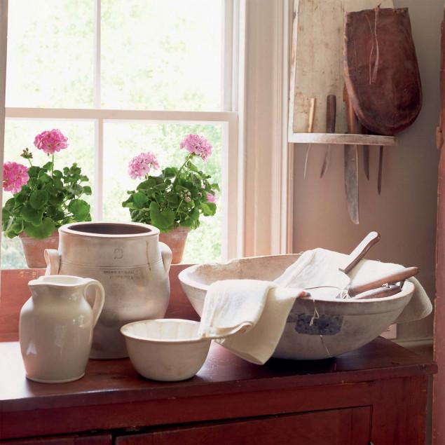 Geranium roses (2 pots) window sticker