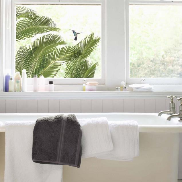Sticker fenêtre Feuilles de palmier et oiseaux