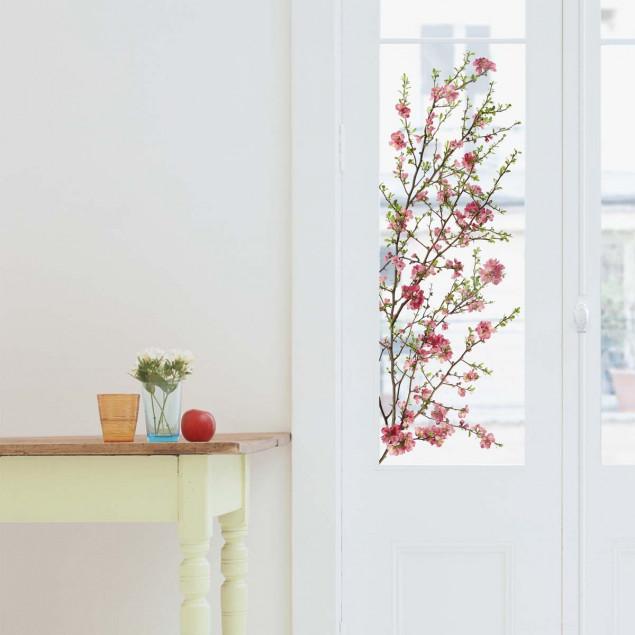 Japanese flowering apple trees window sticker