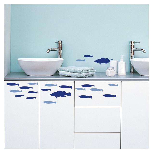 School of blue fish wall sticker