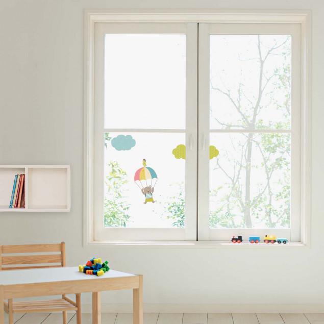 Parachuting little bear window sticker for kids