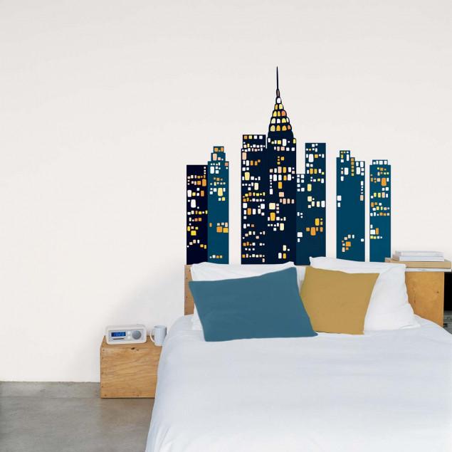 Blue city wall sticker, business district skyline