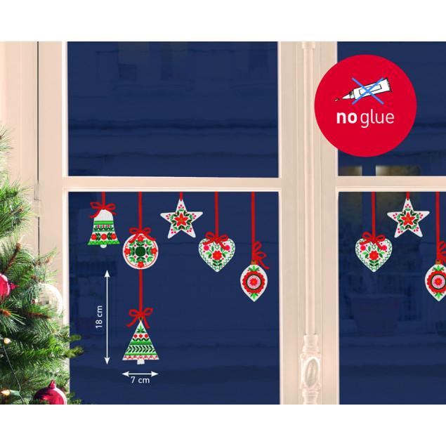 Sticker fenêtre sapins, curs et étoiles