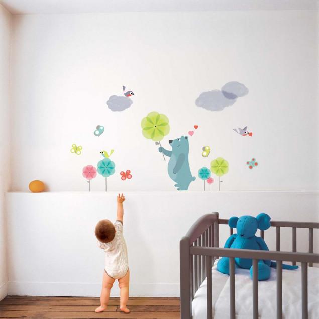 Blue bear wall sticker