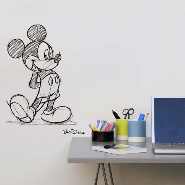 Sticker mural XL Mickey Mouse, Croquis en noir et