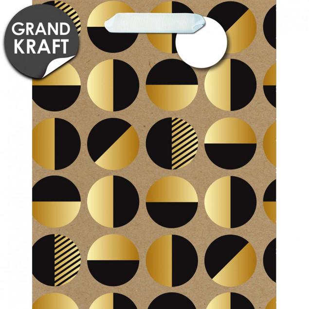 Black & gold circles gift bag