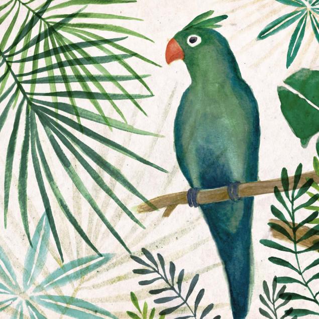 Toile Jungle Perroquet avec son châssis en bois vé