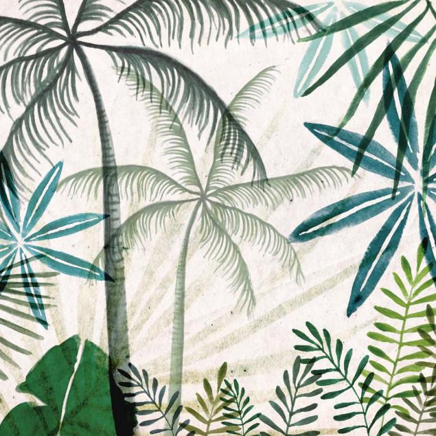 Toile Jungle Palmiers avec son châssis en bois vér