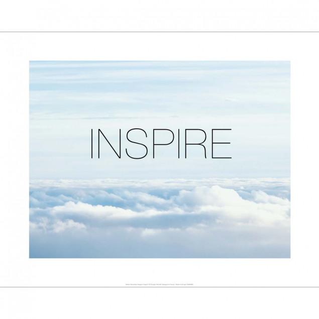 """""""Affiche """"""""Inspire"""""""" dans un lit nuages - 40X50cm"""""""
