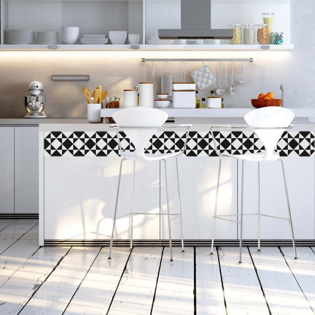 Adhesive strips - Black & White Tiles