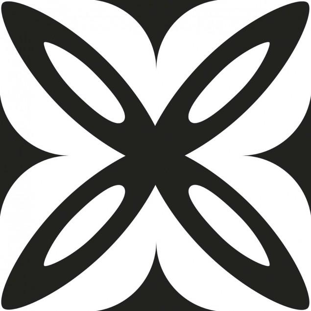 Adhesive squares - Geometric black and white flowe