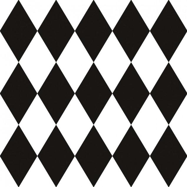 Adhesive squares - Vintage black and white diamond