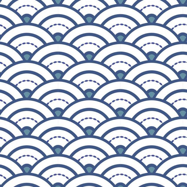 Adhesive squares -Japanese seigaiha blue wave