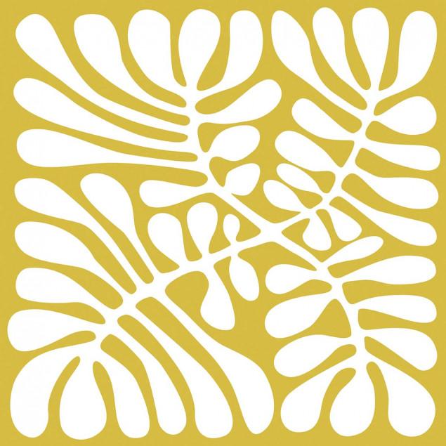 Adhesive squares - White miniga on an ochre backgr