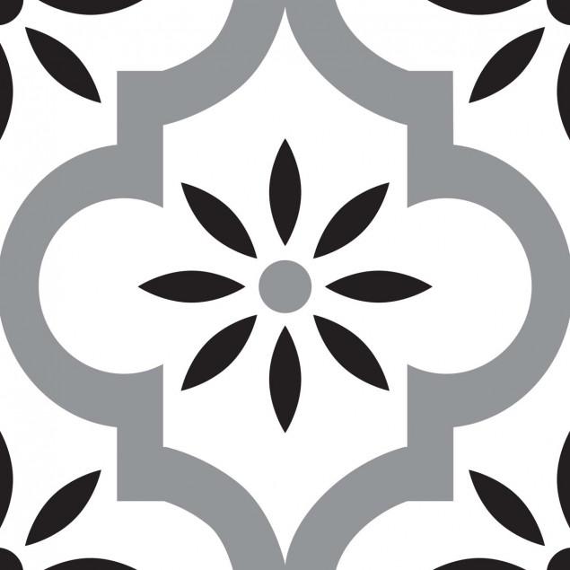 Adhesive squares - Grey, white and black oriental
