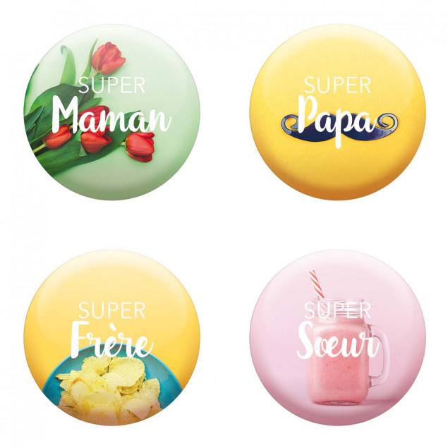 """Set of 4 magnets """"Super Famille"""" (Super Family)"