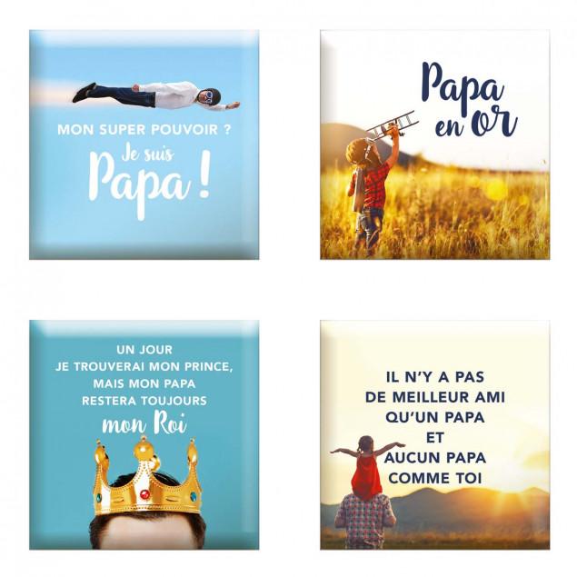 """""""Set of 4 magnets """"""""Fête Des Pères"""""""" (Father's Day"""
