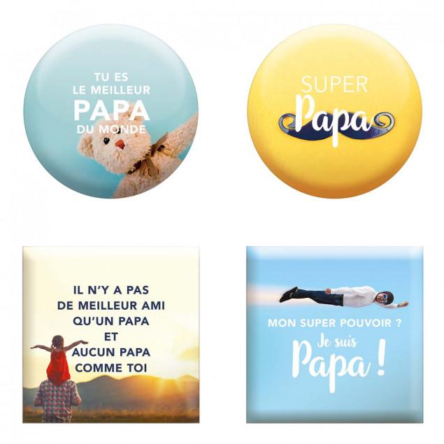 """Set of 4 magnets """"Fête Des Papas"""" (Dad's Day)"""