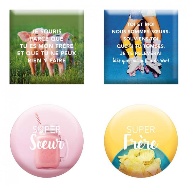 """Set of 4 magnets """"Super Frères Et Soeurs"""" (Supe"