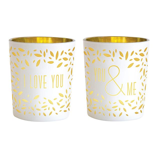 I love you / You & Me tealight holders