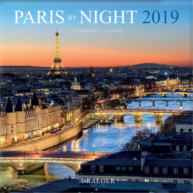 Grand Calendrier Mural 2019.Grand Calendrier Mural 29x29cm Paris By Night 2019