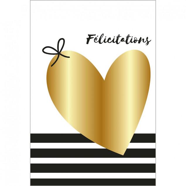 Golden heart congratulations card