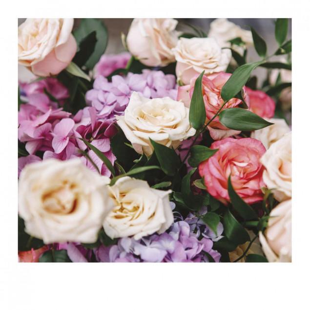 Carte Pola bouquet de roses mix