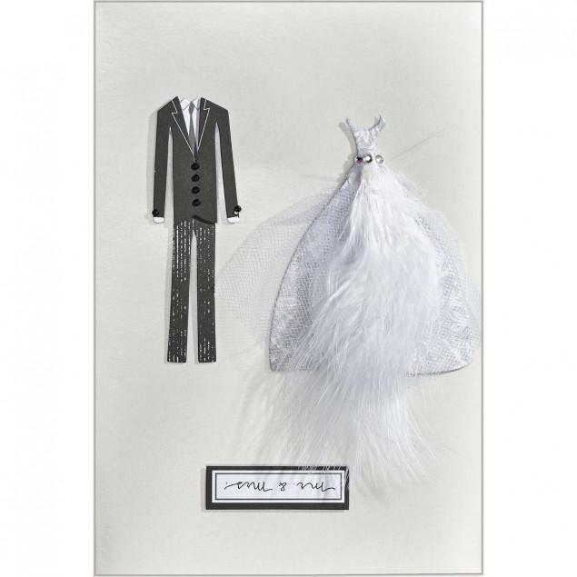 Wedding dress and suit wedding card