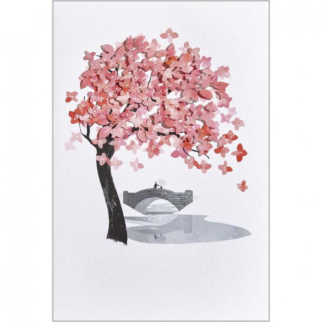 Embossed tree and leaves greetings card