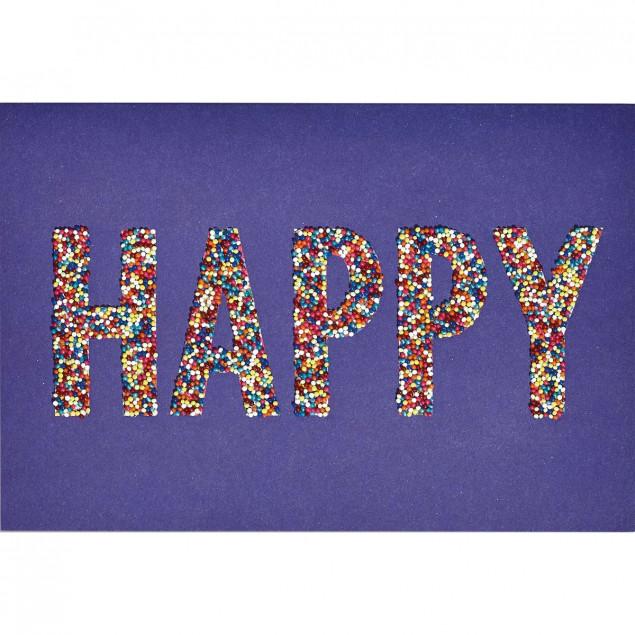 Multicoloured beads birthday card