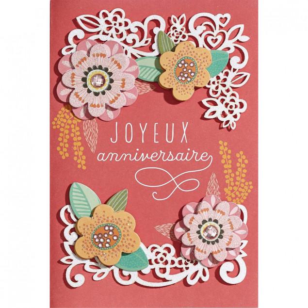 Embossed flowers decor woman birthday card