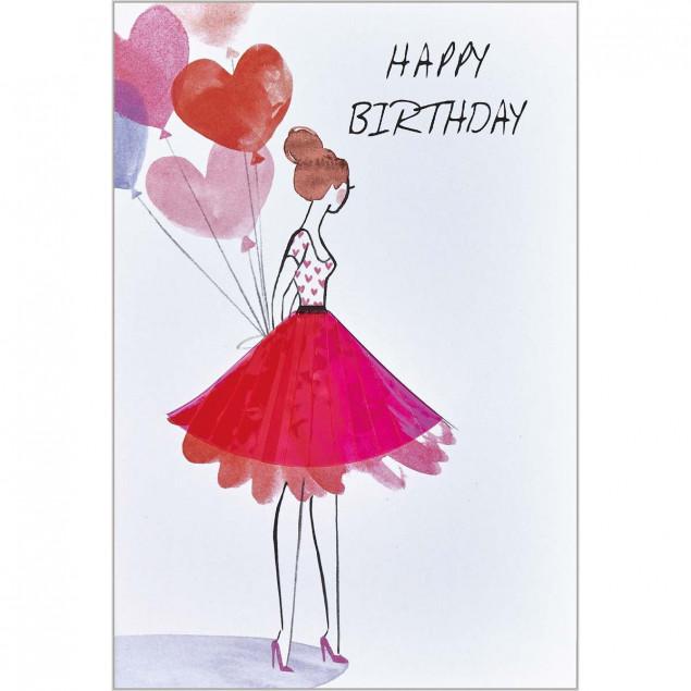 Pink plexiglass skirt woman birthday card