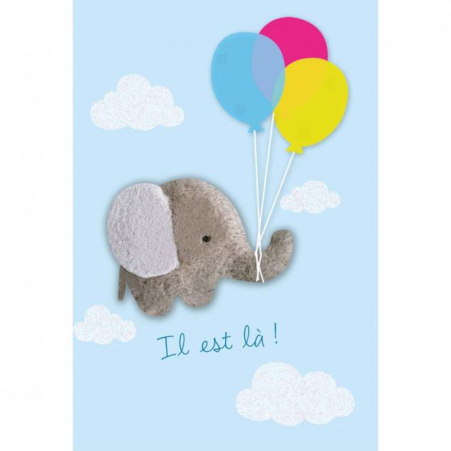 Fluffy blue elephant new baby boy card