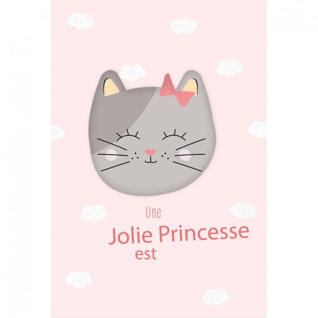 Fluffy pink kitten new baby girl card