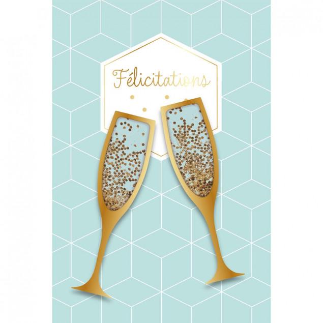 Champagne flutes celebration card