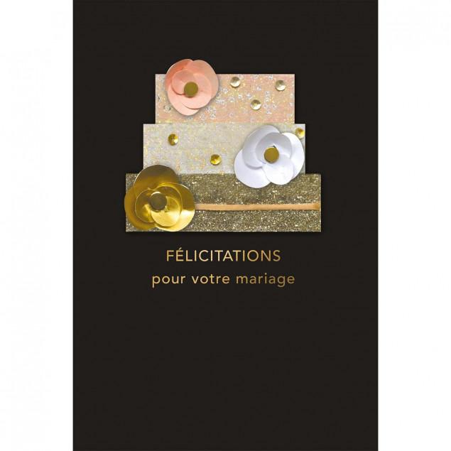 Gold wedding cake wedding card